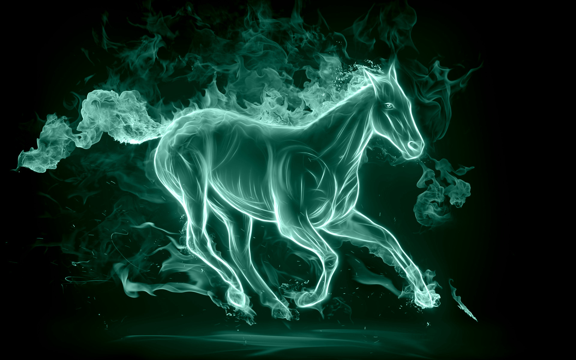 Amazing Wallpaper Horse Halloween - fiery_green_horse  Image_355749.jpg