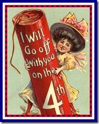 fourth of july vintage postcard framed